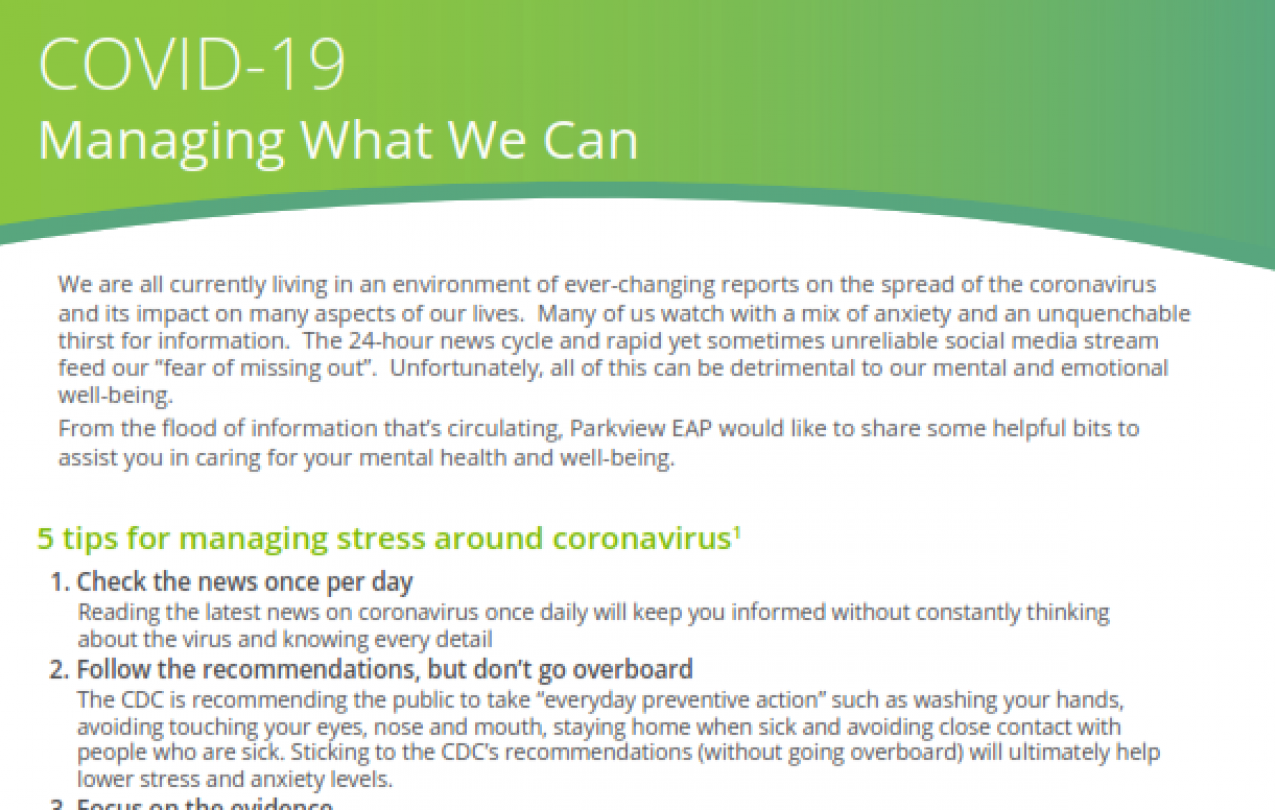 COVID-19 Managing What We Can