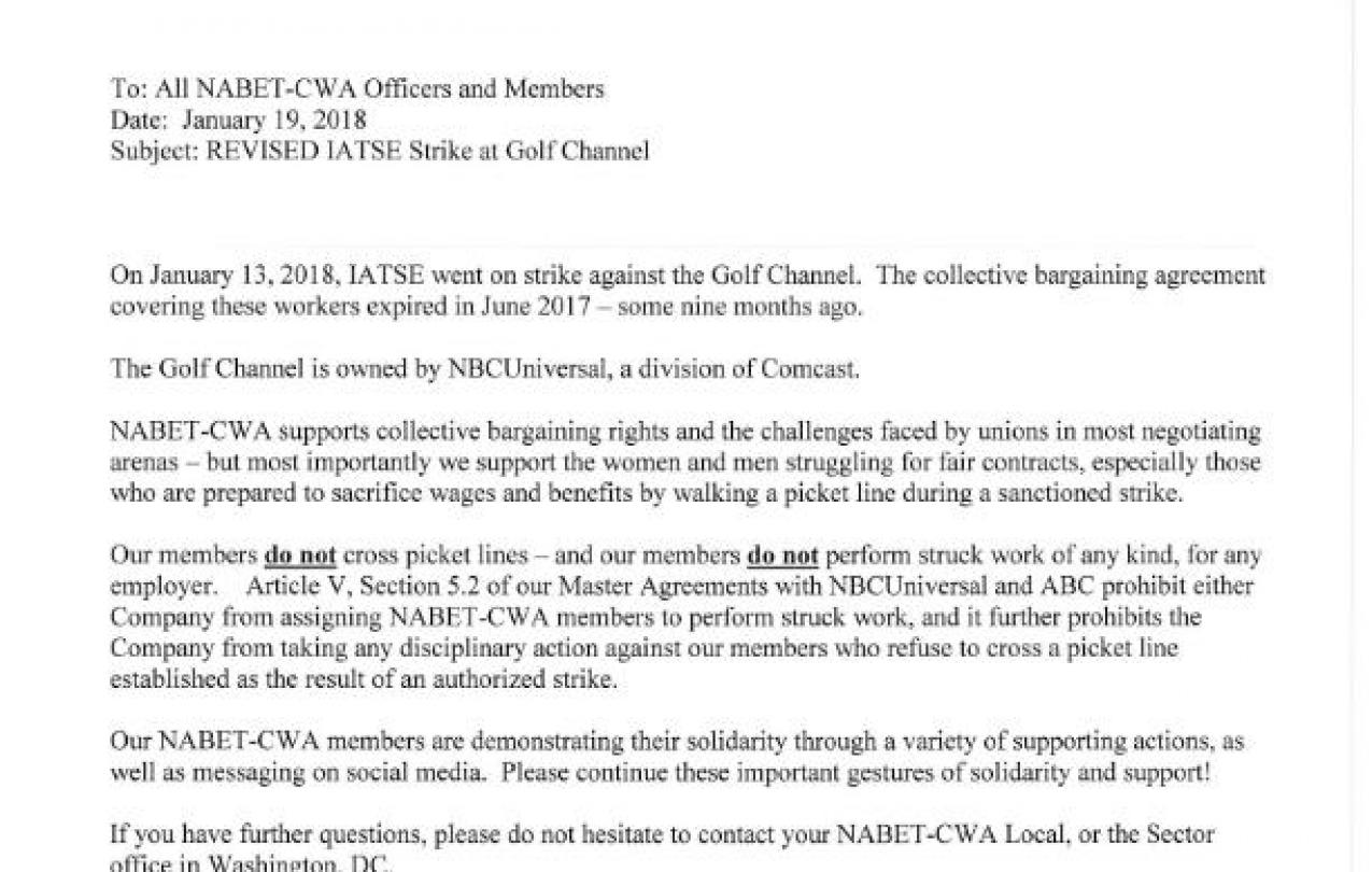 IATSE Strike at Golf Channel